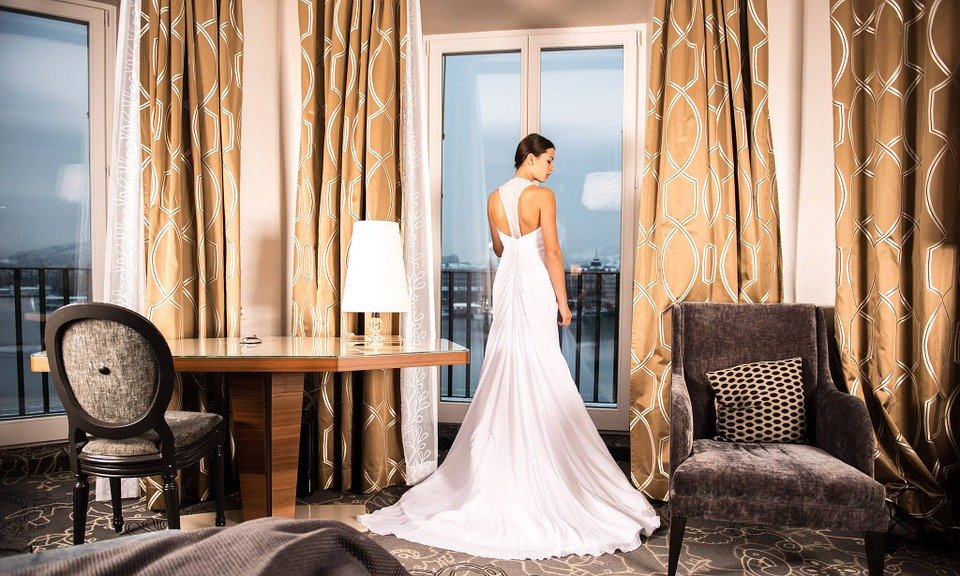 Bride, Hotel Room, Living Room, Wedding Dress, Marriage