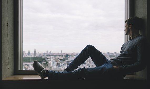 City, Man, Person, Solo, Window, Alone